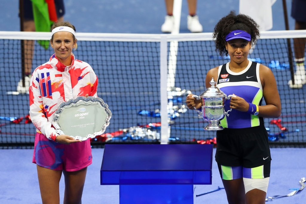 Osaka (right) and Azarenka, champion and runner-up of this year's US Open, respectively.