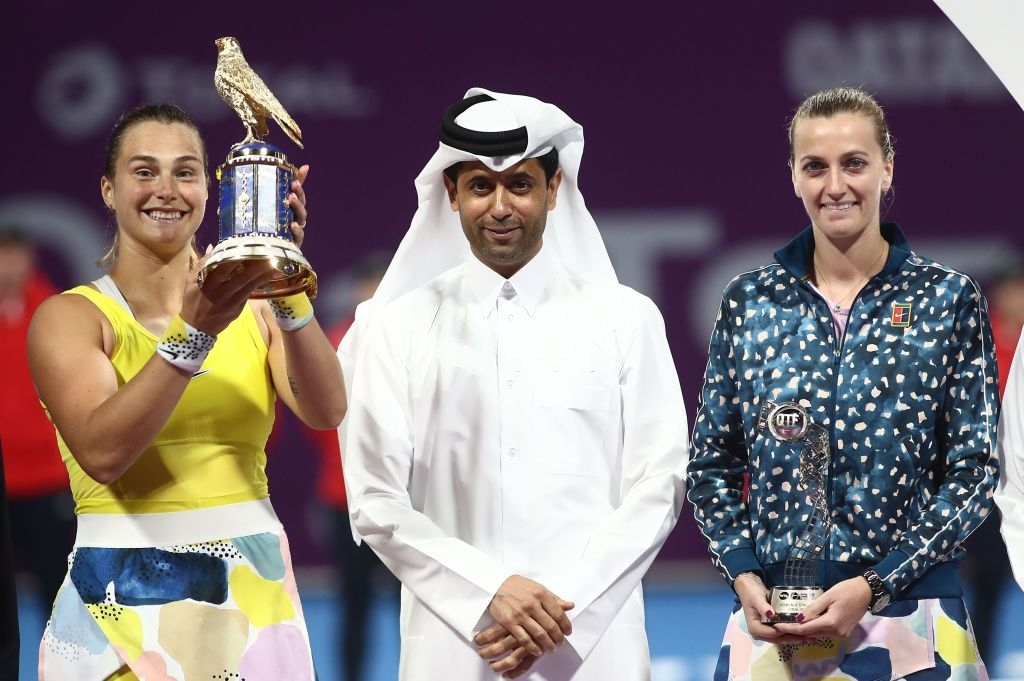 Kvitova and tournament winner Aryna Sabalenka (left) after the conclusion of their Qatar Total Open final in February this year. Photo: Karim Jaafar