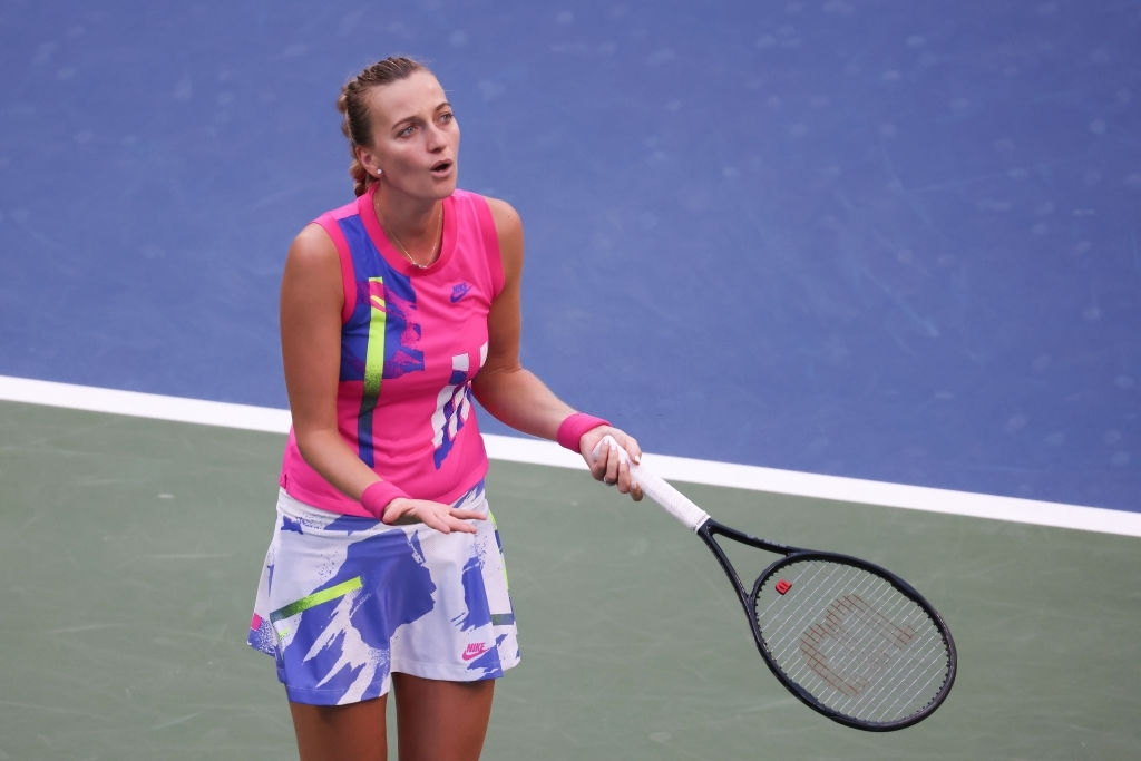 Kvitova shows emotions en route to a tough loss to Shelby Rogers in the fourth round of the US Open. Photo: Al Bello