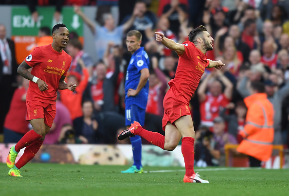 Above: Adam Lallana celebrating Liverpool's third goal in their 4-1 win over Leicester City   Photo: Getty Images