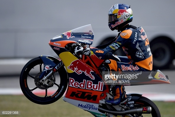 A wheelie from binder to celebrate winning his fifth Moto2 race San Marino - Getty Images