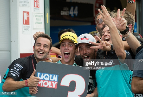 Mir celebrating with his Leopard Racing Team in parc ferme - Getty Images