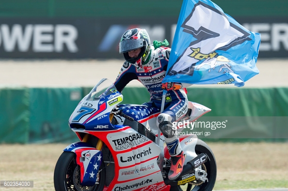Lorenzo celebrates his first Moto2 victory at home in San Marino, Italy - Getty Images