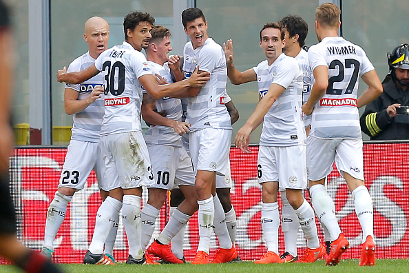 Udinese celebrate their shock win | Photo: MARCO BERTORELLO/AFP/Getty Images