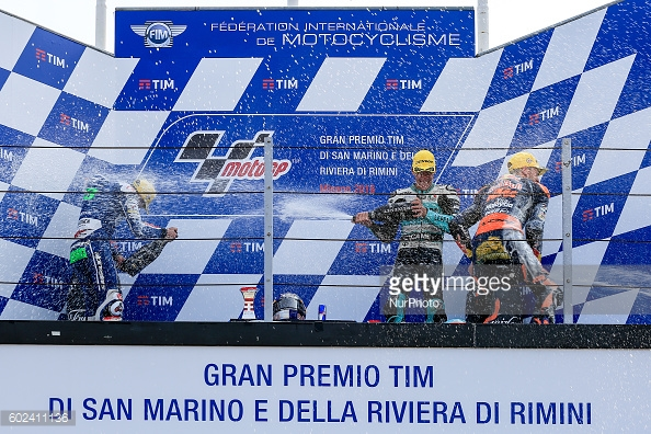 the podium winners of the 2016 San Marino Moto3 race - Getty Images