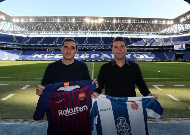 Cordialidad entre los dos entrenadores | Foto: RCD Espanyol