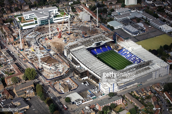 Redevelopment is currently taking place on the site of White Hart Lane with a corner of the ground missing (as seen in the image). Spurs will move into their new home in 2018 | Photo: Getty images / Tottenham Hotspur FC