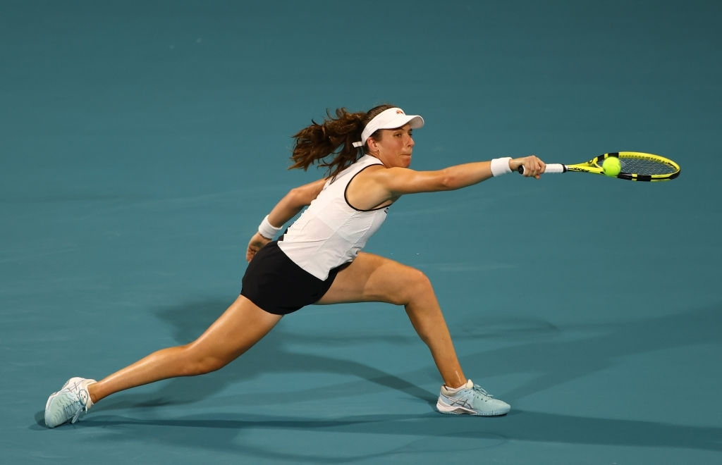 Former champion Konta found herself overwhelmed by the pace of Kvitova in the match. Photo: Mark Brown