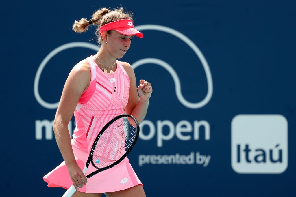 Mertens routed fellow 25-year-old Anett Kontaveit in three sets to make the last 16 in Miami. Photo: Mark Brown