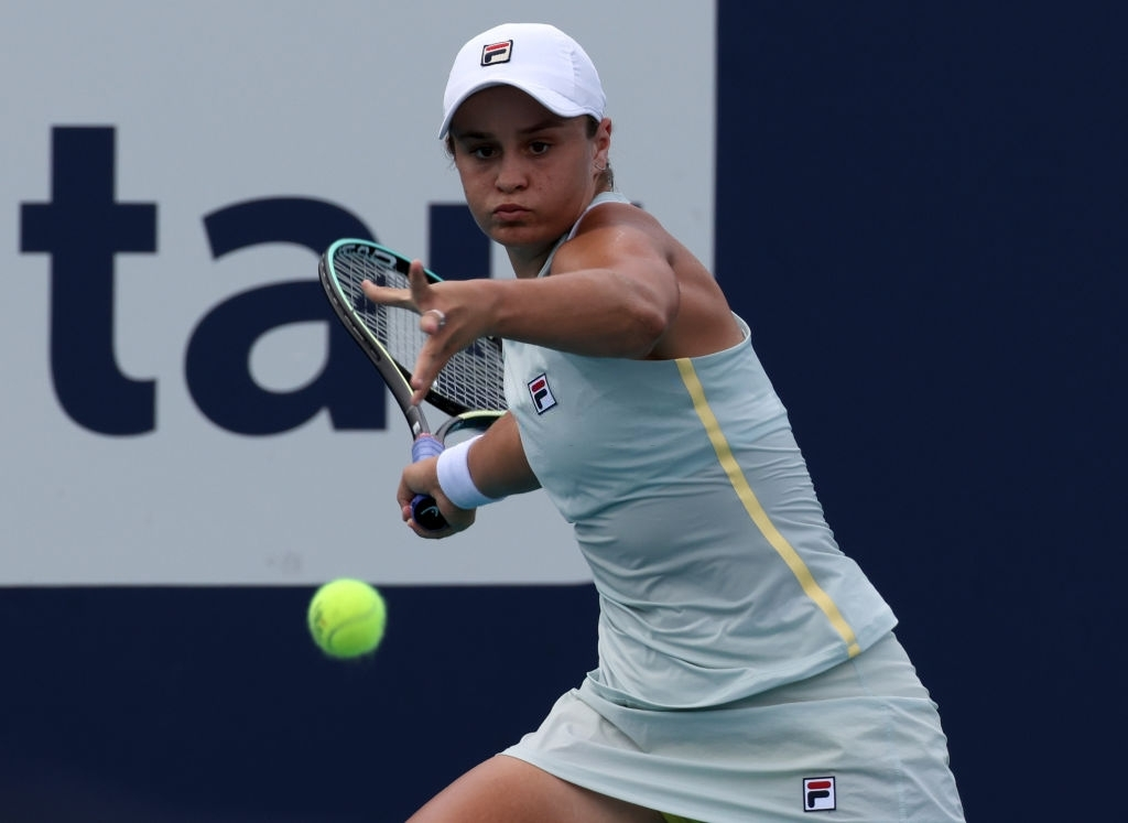 Barty, pictured en route to defending her title in Miami last weekend, as she sets her sight on a third title of 2021 in Charleston next. Photo: Mark Brown