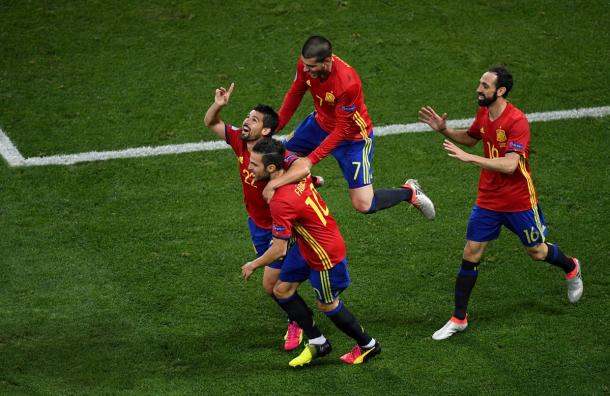 Spain celebrate the second goal of the game from Nolito (Photo: Getty Images)