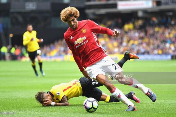 Above: Marouanne Fellaini in actionduring Mancvhester United's 3-1 defeat to Watford | Photo; Getty Images