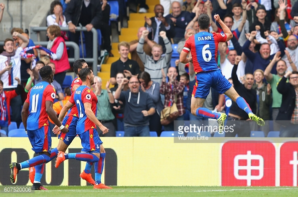 Scott Dann celebrates scoring against Stoke City - his last league appearance before hobbling off against Southampton in the EFL Cup | Photo: Getty images / Warren Little