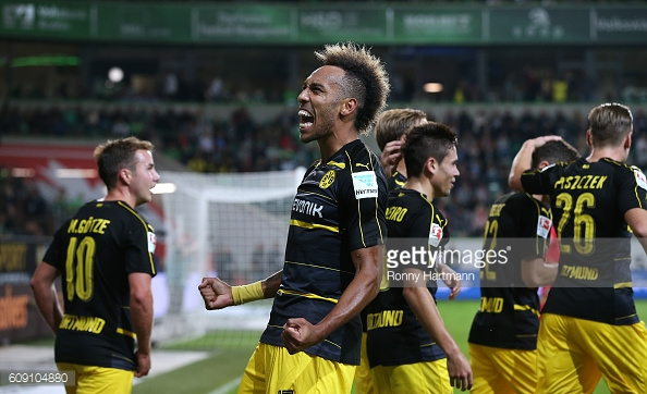 Aubameyang celebrates scoring his side's second goal against Wolfsburg on Tuesday | Photo: