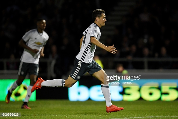 Above: Ander Herrera celebrating his goal in Manchester United's 3-1 win over Northampton | Photo: Getty Images