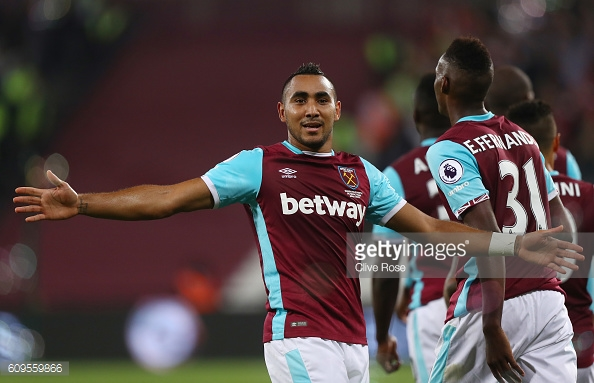 Dimitri Payet celebrating his goal in West Ham's 1-0 win over Accrington Stanley | Photo: Getty Images