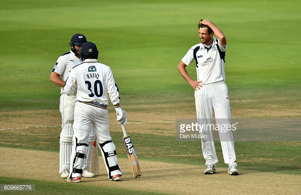 Rafiq and Bresnan congratulate each other during their century partnership | Photo: