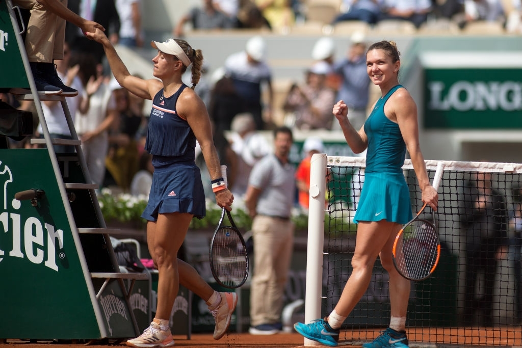Halep got the better of Kerber once again, at the second Grand Slam of 2018, in their quarterfinal clash at Roland Garros. Photo: