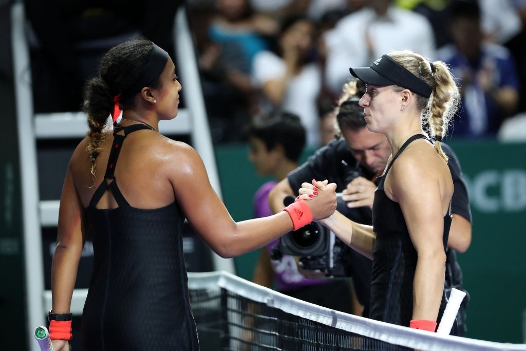 Kerber concluded 2018 at the WTA Finals, her fifth appearance here, where she managed one win, over Naomi Osaka (left) in the group stage. Photo: