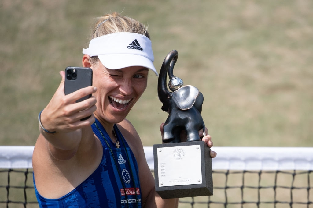 Kerber capped off her week at home on grass in Bad Homburg Open with her 13th career title, and third on home soil. Photo: