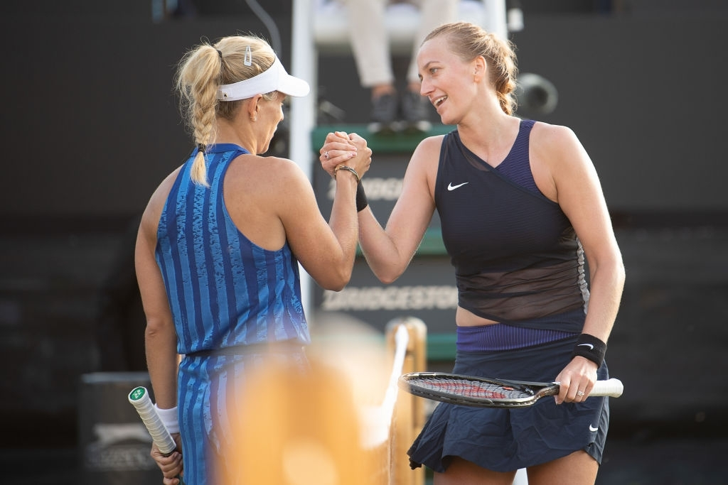 Kerber and Petra Kvitova (right) played a semifinal at the Bad Homburg Open, their first meeting on grass and the 15th overall between the pair. Photo: