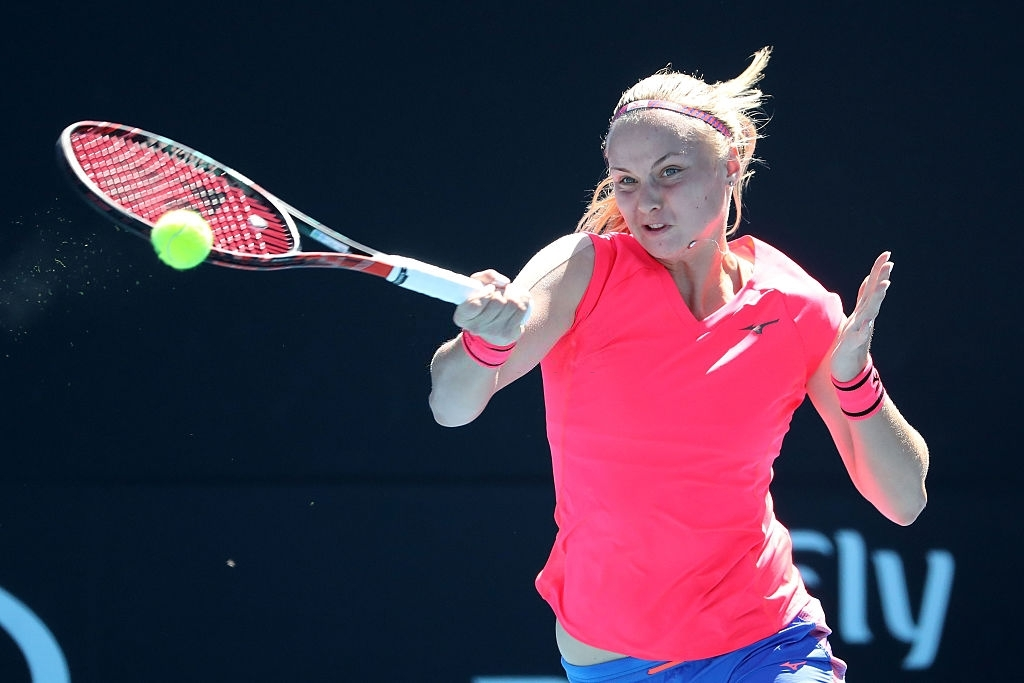 Sramkova at the 2017 Australian Open, her only appearance in the main draw of Grand Slam events to date. Photo: Scott Barbour