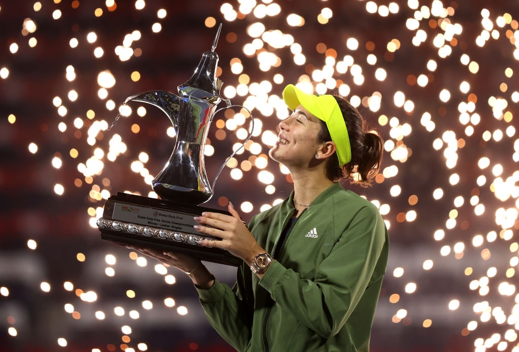 Muguruza captured the season's first 1000-level stage, in Dubai, her biggest title in more than two years. Photo: