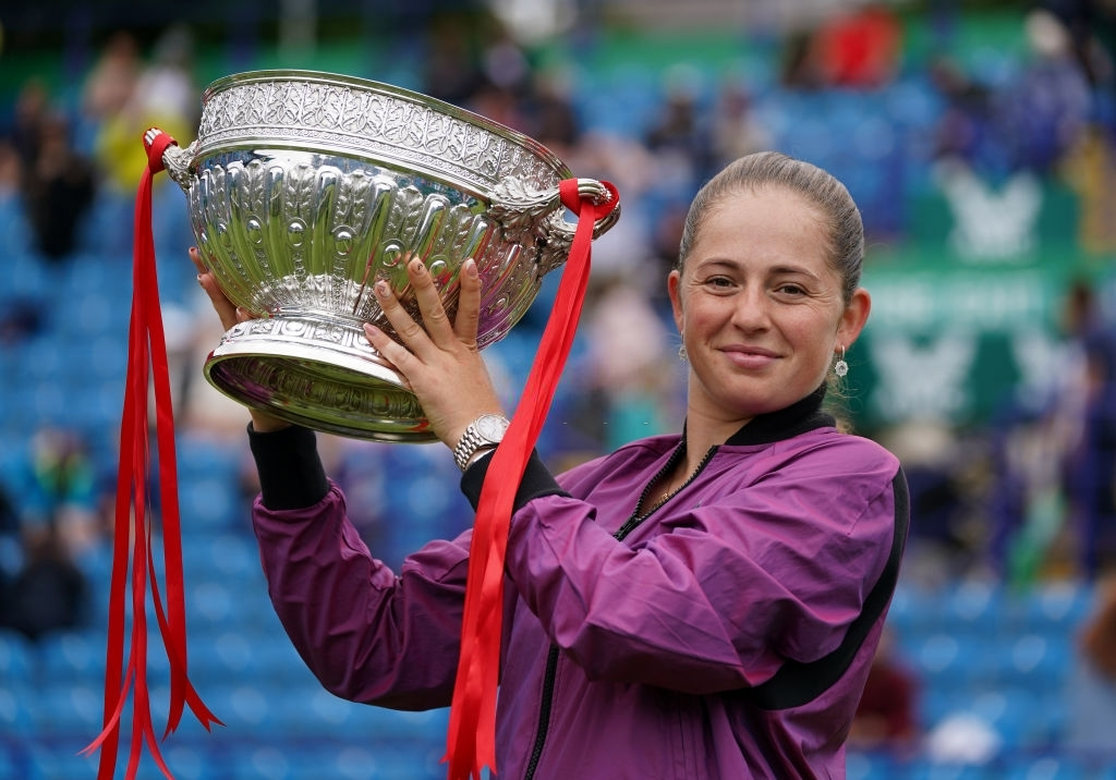 Ostapenko completed a sweep of at least a title win on every surface with her tournament success in Eastbourne. Photo: