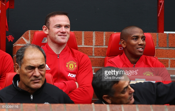 Rooney watching on from the bench during United's win against Leicester | Photo: