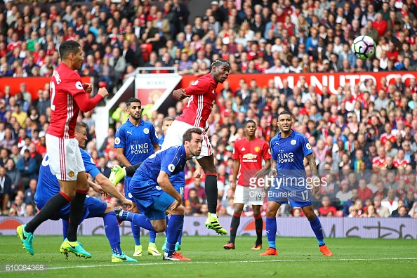 Pogba scoring his first goal for Manchester United against Leicester | Photo: