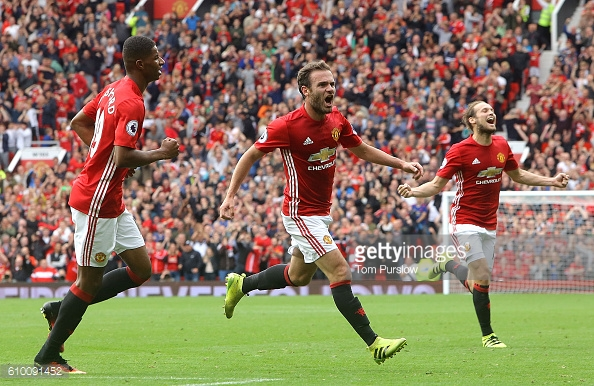 Mata celebrates scoring against Leicester last weekend | Photo: