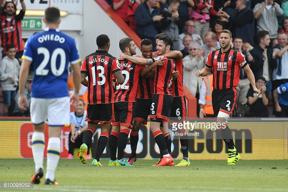 The Bournemouth players celebrate Stanislas' sensational first half strike | Photo: Getty images / Mike Hewitt