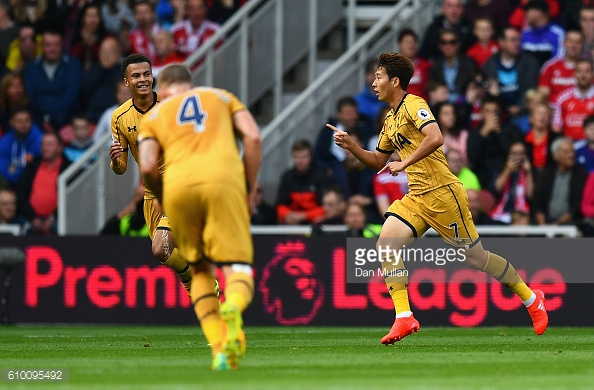 Son celebrates scoring his second goal against Middlesbrough at the weekend | Photo: