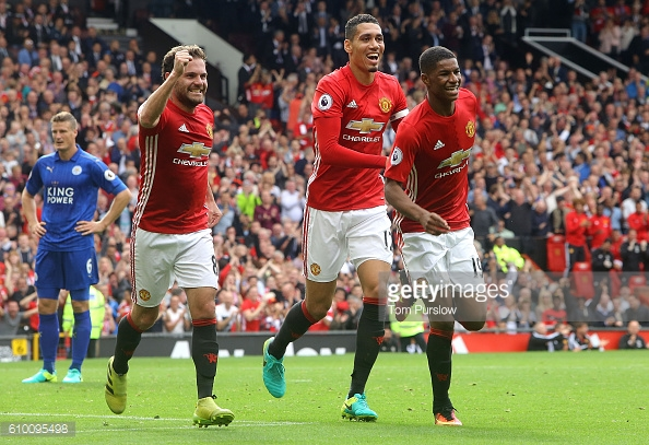 Rashford celebrating his goal against Leicester last month | Photo: Tom Purslow / Getty Images