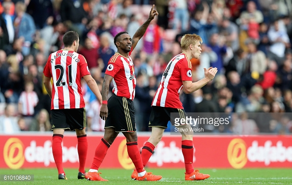 Above: Jermain Defoe celebrating one of his two goals in Sunderland's 3-2 defeat to Crystal Palace | Photo: Getty Images