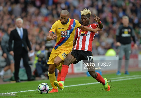 Above: Sunderland AFC record signing Didier N'Dong in action during their 3-2 defeat to Crystal Palace | Photo: Getty Images