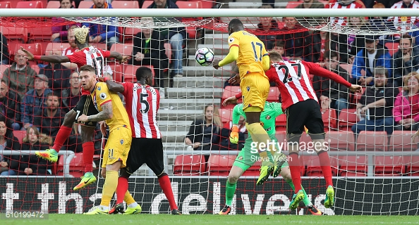 Above: Christian Benteke scoring his winner in Sunderland's 3-2 defeat to Crystal Palace last week | Photo: Getty Images