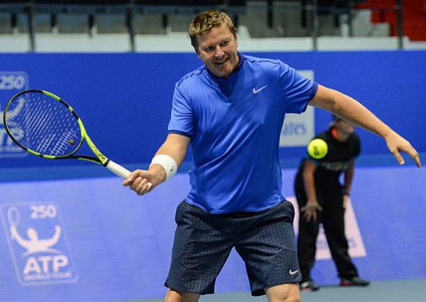 Yevgeny Kafelnikov in action at a 2016 exhibition at the St. Petersburg Open (TASS/Andrei Ivanov)