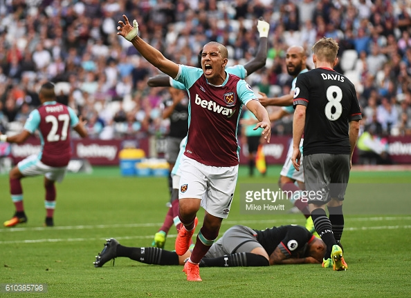 Above: Sofiane Feghouli showing his frustration in West Ham's 3-0 defeat to Southampton | Photo: Getty Images