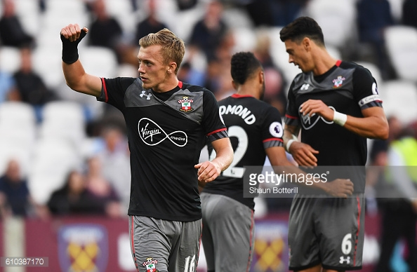 James Ward-Prowse celebrating his goal in Southampton's 3-0 win over West Ham United | Photo: Getty Images