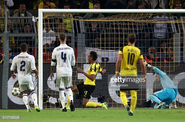 Aubameyang netted the first equaliser for the hosts | Photo: Alex Grimm / Getty Images