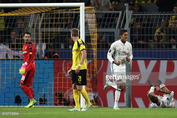 Varane celebates his goal in the second half | Photo: Alex Grimm / Getty Images