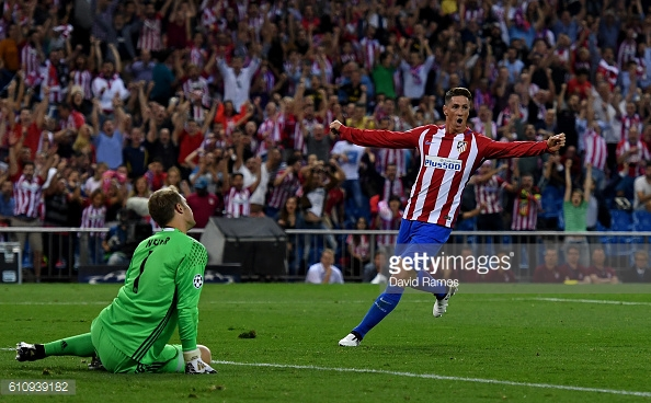 Above: Fernando Torres celebrating Yannick Ferreira Carrasco's goal in Atletico Madrid's 1-0 win over Bayern Munich | Photo: Getty Images