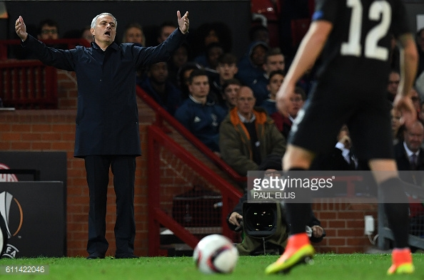 Mourinho was very animated on the touchline during United's win against Zorya Luhansk | Photo: Paul Ellis