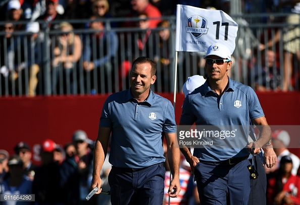 The Spanish duo of Sergio Garcia and Rafa Cabrera Bello won Europe's 2nd point (image source: Ross Kinnaird / Staff / Getty Images)