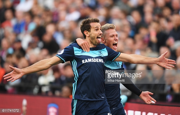 Above: Cristhian Stuani celebrating his goal in Middlesbrough's 1-1 draw with West Ham | Photo: Getty Images
