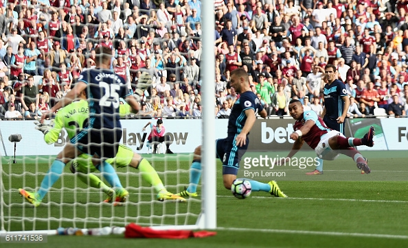 Above: Dimitri Payet striking home in West Ham's 1-1 draw with Middlesbrough | Photo: Getty Images