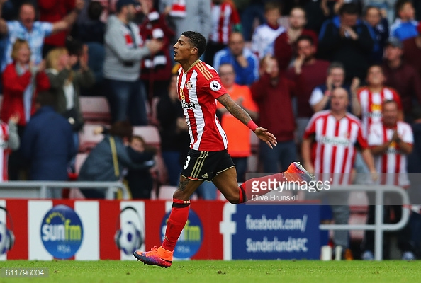 Above; Patrick van Aanholt celebrating his goal in Sunderland's 1-1 draw with West Brom | Photo; Getty Images