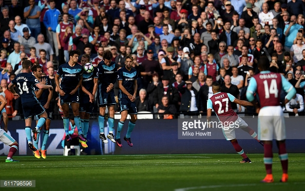 Above: Dimitri Payet's free kick been blocked in West Ham's 1-1 draw with Middlesbrough | Photo: Getty Images