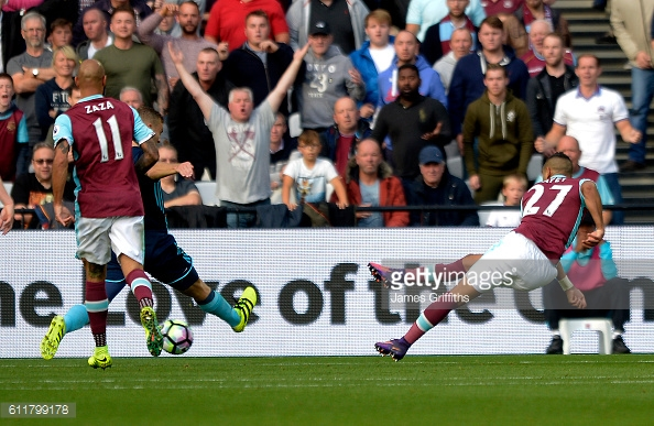 Above: Dimitri Payet scoring his effort in West Ham's 1-1 draw with Middlesbrough | Photo: Getty Images